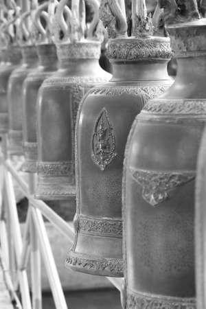 Steel Buddhist Bells at Non Kum Temple, Nakornratchasima Province, Thailand