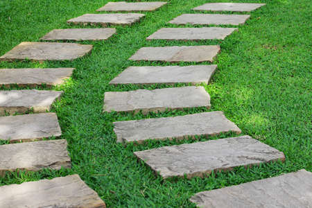 d       cor: Garden stone path with green grass in the garden Stock Photo