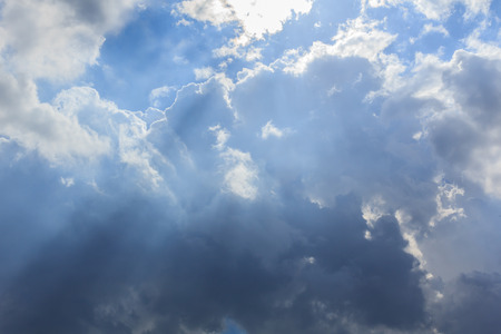 Clouds and sun sky and Partly with rain storm. Standard-Bild