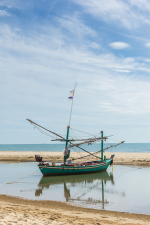 brig ship: Fishing boats and coastal beaches in the south of Thailand. Stock Photo