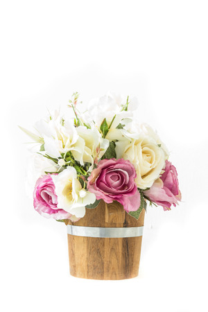purple roses: white roses and purple roses artificial on a white background with space for text input. Stock Photo