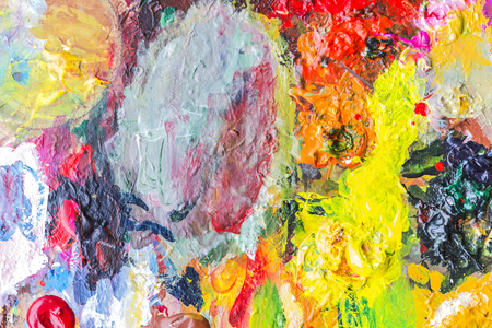 paint palette: Abstract acrylic paint palette of colorful, mix color, background,vector illustration,a mixture of colors, stains with a  of acrylic paint, the authors work.