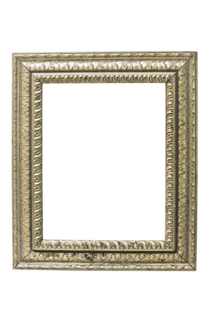 vintage photo frame: Old picture frame on a white background for pictures and text.