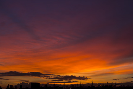 pacification: Romantic sunset sky with fluffy clouds and beautiful heavy weather landscape