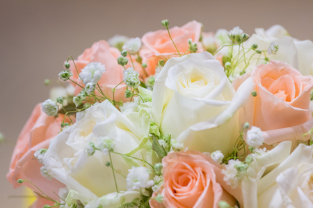 Wedding bouquet with roses to use as wallpaper for text input