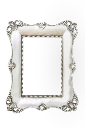 Vintage silver frame isolated from white background