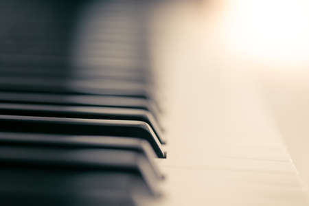 Piano and keyboard piano, Music instrument. Black and white key. side view of instrument musical tool. Stock Photo