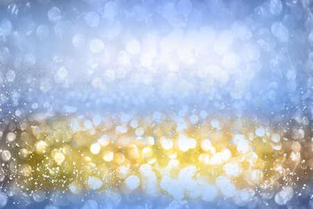 Blue, gold and silver glitter vintage lights background defocused. for festivals and celebrations Standard-Bild