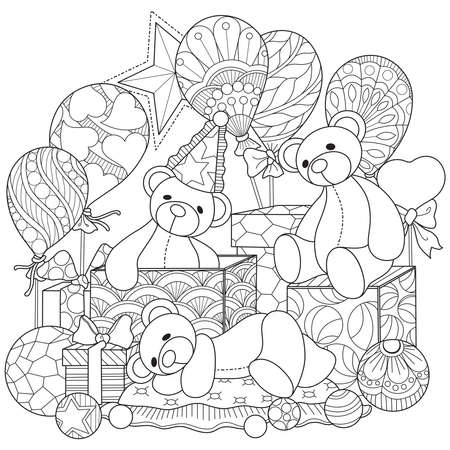 Bear doll and gift box.Hand drawn sketch illustration for adult coloring book