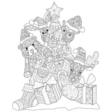Cute animal and Christmas tree Hand drawn sketch illustration for adult coloring book