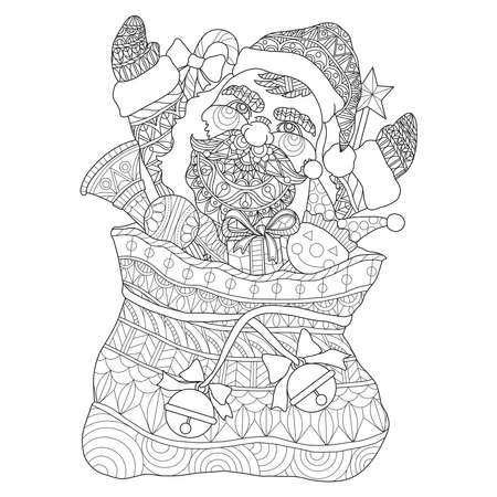 Santa Claus in the Santa is Sack Hand drawn sketch illustration for adult coloring book Vettoriali