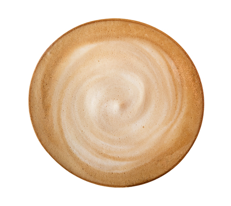 Top view hot coffee latte cappuccino spiral isolated on white background, clipping path included 写真素材