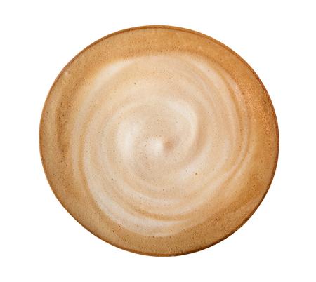 De hoogste die spiraal van de koffie latte cappuccino op witte achtergrond, het knippen inbegrepen weg wordt geïsoleerd Stockfoto