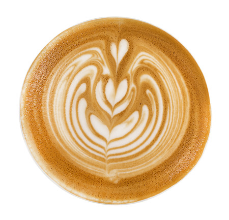 Top view of hot coffee cappuccino latte art foam isolated on white background, clipping path included Stock Photo