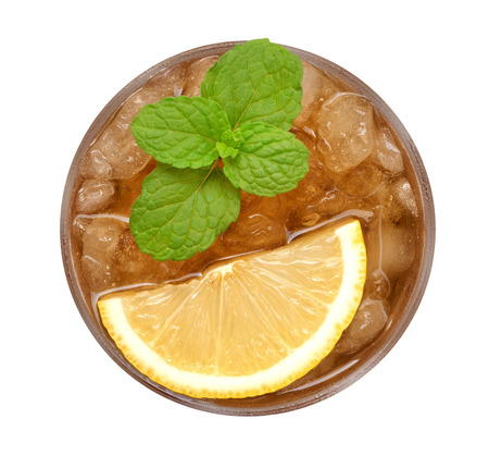 Ice lemon tea with mint top view isolated on white background, clipping path included