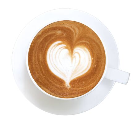 Hot coffee cappuccino latte art heart shape in ceramic cup top view isolated on white background, clipping path included