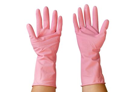 Two hands wearing pink rubber gloves isolated on white background, clipping path included