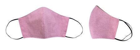 Pink fabric mask with elastic ear straps for cover mouth and nose to protect virus or bacteria isolated on white background, clipping path included