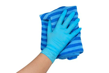 Hands wearing blue gloves holding a towel fabric cleaning for isolated on white background, clipping path included Reklamní fotografie