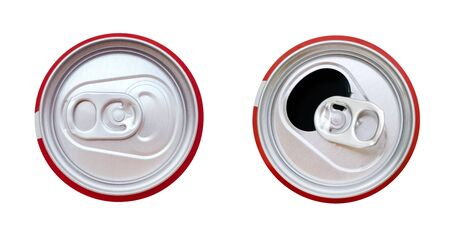 Two red aluminum beverage can top view isolated on white background, clipping path included