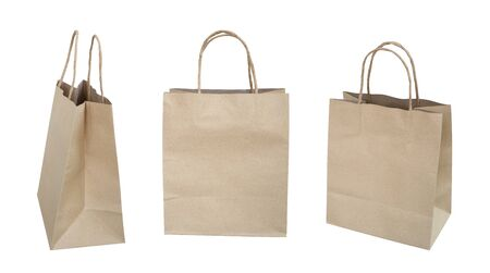 Brown recycled paper shopping bag set isolated on white background,