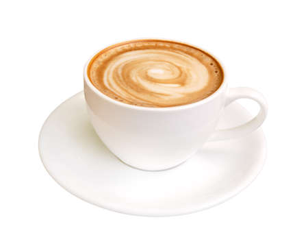 Hot coffee latte art spiral shape foam, cappuccino isolated on white background, clipping path
