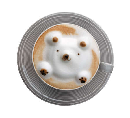 Top view hot coffee cappuccino latte art 3D bear shape foam in gray ceramic cup isolated on white background