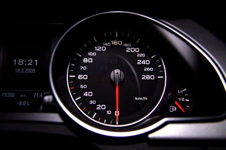 dash: Black modern speedometer Stock Photo