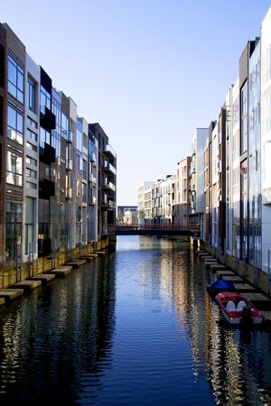 appartment: A very modern appartment area in Copenhagen with water canals inspired by Venize