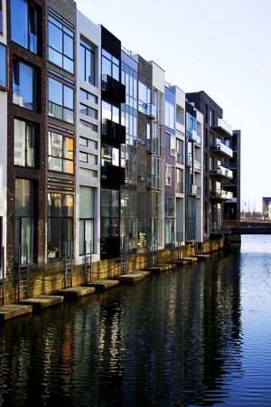 A very modern appartment area in Copenhagen with water canals inspired by Venize