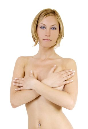 Nude blond woman covering her breasts with her hands Stock Photo