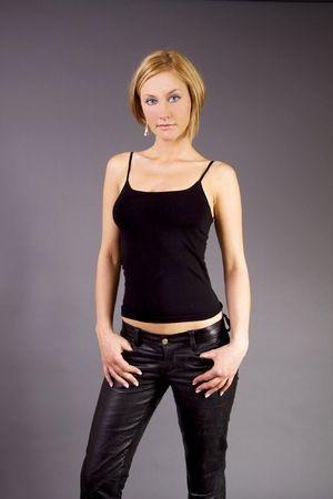Beautiful blond Swedish girl with leather pants Stock Photo - 4787118