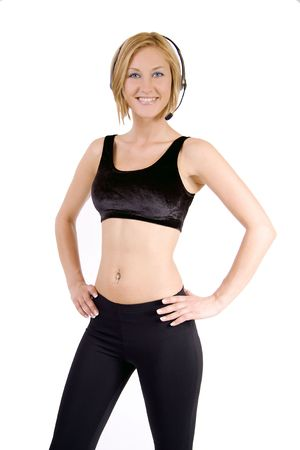 A blond fitness woman with black spandex pants and a black bra.
