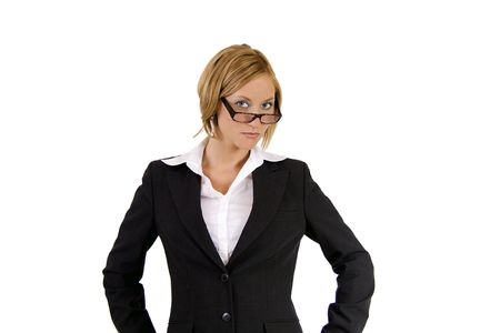 Tough blond business woman giving a strict look photo