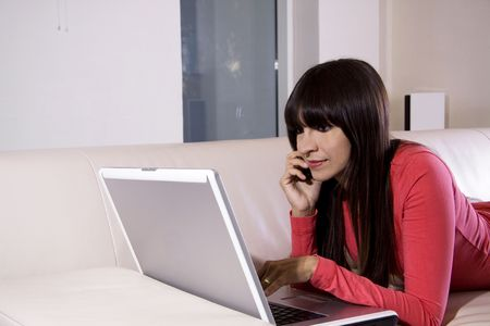 Woman chatting online on the internet