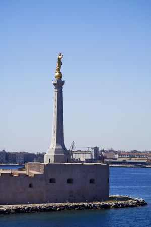 Statue at Messina Port in Sicily Stock Photo