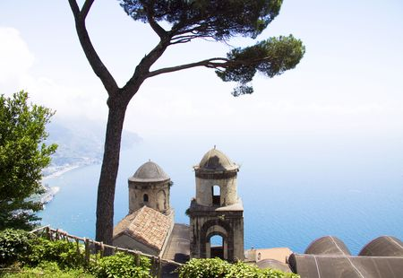 amalfi: The Ravello garden offers a view of the two church towers, a tree and the Amalfi coast