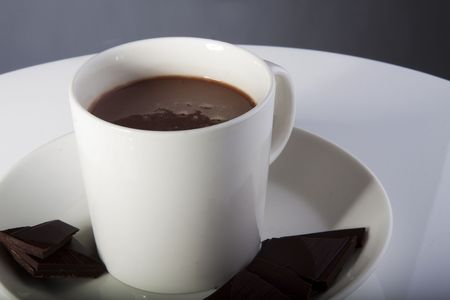 Hot chocolate in a white cup with peices of dark deluxe chocolate on the side photo