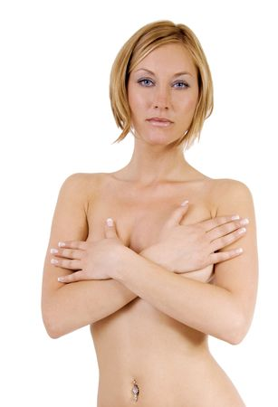 nude blond: Nude blond woman is covering her breats with her hands Stock Photo