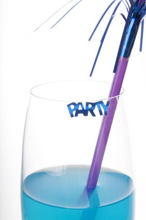 Blue cocktail with a decoration and a party sign photo
