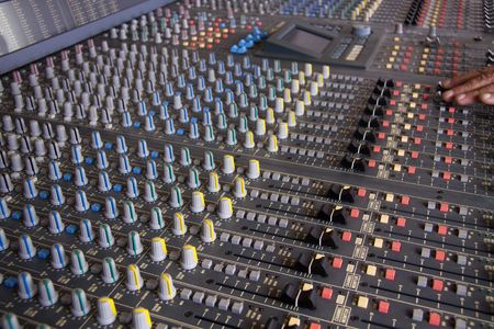 Pro mixing pult at a recording studio photo