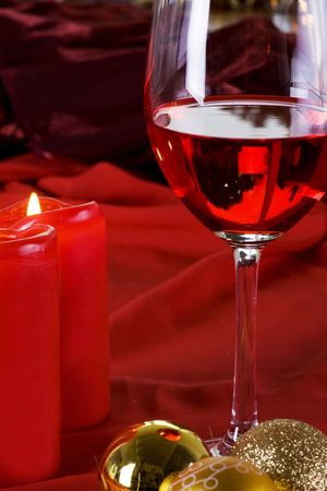 Chrismas decoration with wine and candle Stock Photo