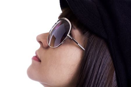 Latina model with cool sunglasses and a black beret photo
