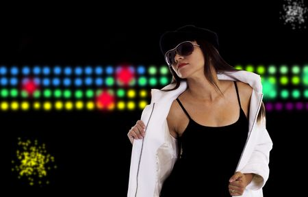 Trendy and sexy woman with a club and disco background