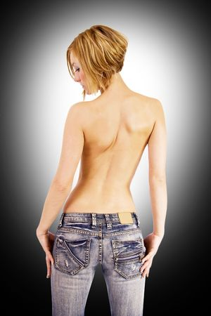 Topless blond woman from behind