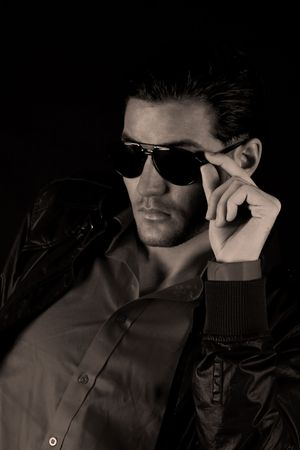 Cool male model with sun glasses