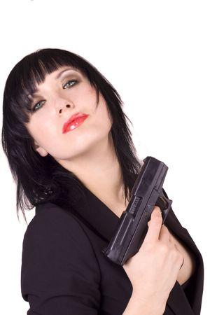 Female Russian agent holding a gun Stock Photo