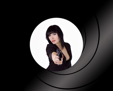 Female spy pointing a gun at you