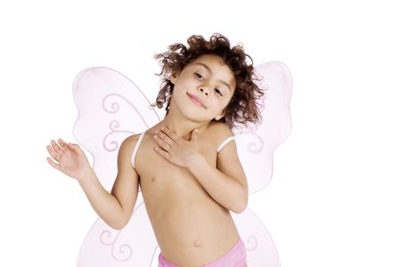 Cute mulatto girl with pink angel wings Stock Photo - 6704844