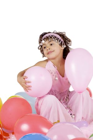 Beautiful mulatto girl with colorful baloons Stock Photo - 6704845